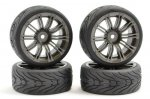 Fastrax 'Street/Tread' 1/10th Tyres Pre-Mounted on Gun Metal 20