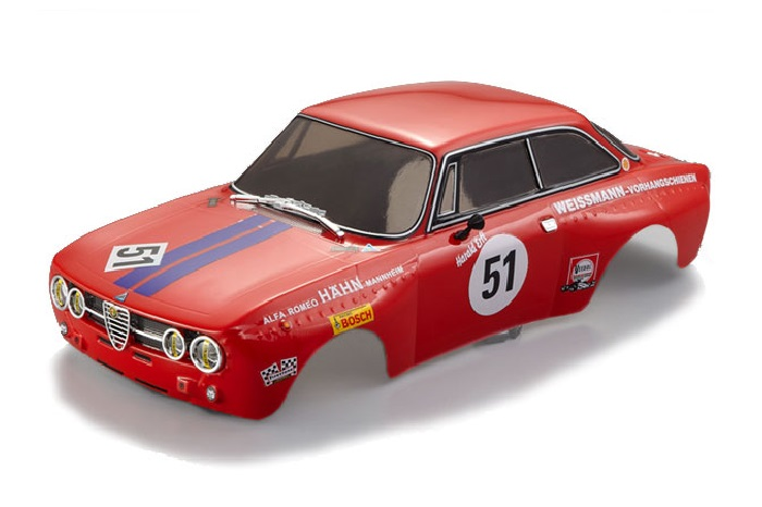 ALFA ROMEO 2000 GTAM FINISHED BODY RED FOR 1/10 ELECTRIC RC CAR