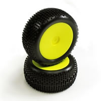 Carisma GT14B Neon Yellow Standard Pre-glued Rear Tyres (2)