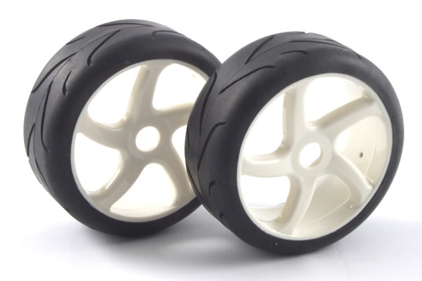 1/8 On-Road Pre-Mounted Slick Tyres on '5 Spoke' Wheels (2) - γι