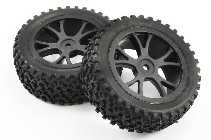 FASTRAX 1/10 MOUNTED CUBOID BUGGY FRONT TYRES 10-SPOKE