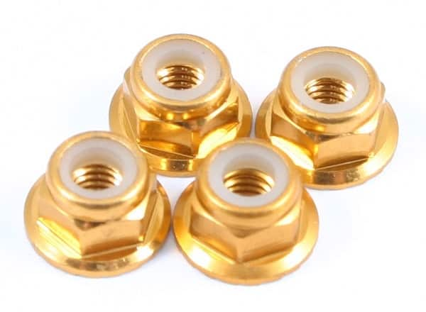 FASTRAX M4 GOLD FLANGED LOCKNUTS 4PCS