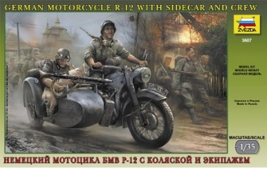 German motorcycle R-12 with sidecar and crew, 1/35